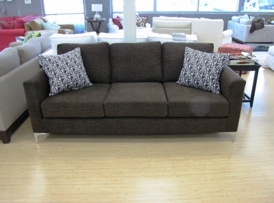 Photo Of Straight Arm Sofa, Upholstered In Chocolate Color Chenille.